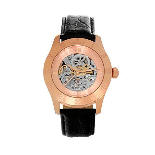 Continuum Herren-Armbanduhr Automatik Analog Skelettuhr Leder Schwarz - CO15002