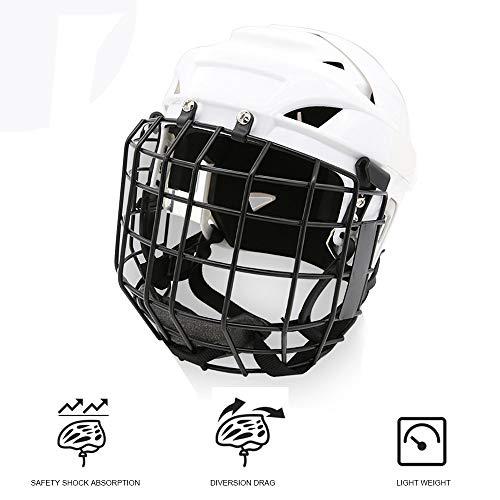 CX TECH Eishockey-Maskenhelm Hockey Helm Stahl Combo Cage Starke Schlagfestigkeit Gesichtsmaske Schutzausrüstung,L (Hockey Spieler Halloween Kostüm)