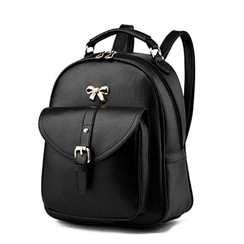 Zaino scolastico dello zaino del sacchetto di viaggio della spalla della cartella di cuoio di modo delle donne Nero
