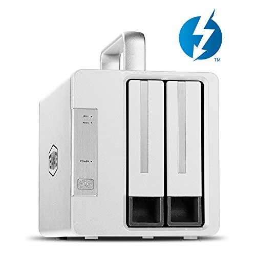TERRAMASTER D2 Thunderbolt 3 (40Gbps) 2-Bay Externes Festplattengehäuse RAID-Speicher, 28TB RAID Gehäuse (Ohne Festplatte, 2 x Thunderbolt 3)