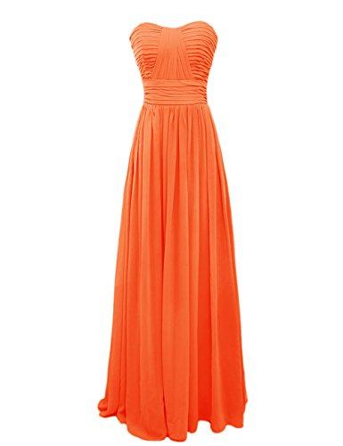 Dressystar Robe femme, Robe de soirée/Cérémonie longue,simple,bustier, en Mousseline Orange