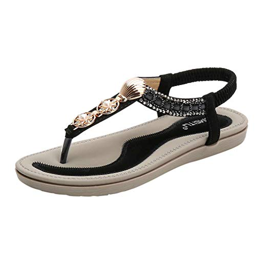 Preisvergleich Produktbild Sandalen Damen Sommer Flip Flops Sandaletten Bohemian Flach Zehentrenner Strandschuhe PU Leder Sandals mit Strass (EU:37,  Schwarz)