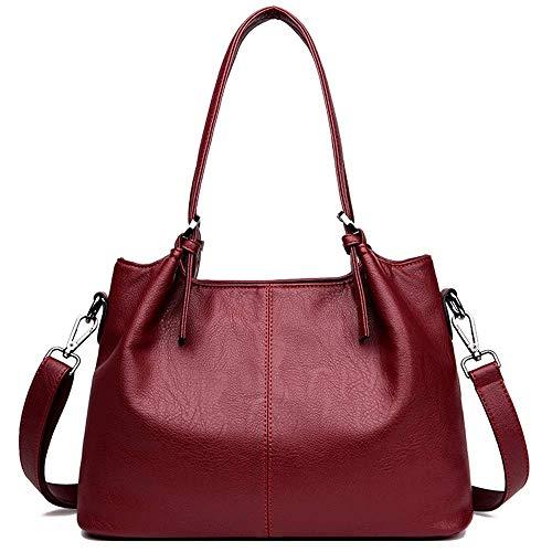 MLpus Nuevo Bolso de Las señoras Bolso de Cuero Negro Bolso de Las señoras Bolso de la Manera de Las Compras del Recorrido Bolso de la Manera de Las Compras (Color : Red)