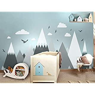 MINGH-Gray Cream Mountains Wall Sticker Home Decor for Kids Room Nursery - Eagles Pine Trees Clouds Beautiful Art Murals Decal Jw373