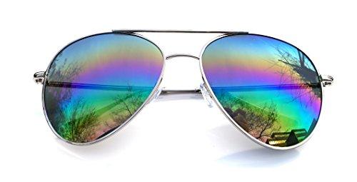 Aviator Fliegerbrille Pornobrille in vielen Farbkombinationen Klassische Pilotenbrille Unisex Sonnenbrille Als kombi Set 1-5 stück Modell 6948-8859 (Regenbogen 6949)