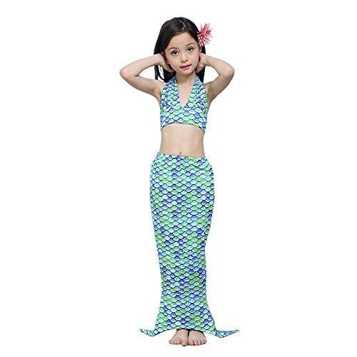 [bikini mädchen]Kidslove Meerjungfrau badeanzug mädchen mit Flosse Bikini Kinder 3tlg Schwimmanzug Bademode Neckholder