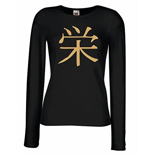 Weibliche Langen Ärmeln T-Shirt Wohlstandlogo - Chinesisch - Japanisches Kanji-Symbol (Small Schwarz Gold)