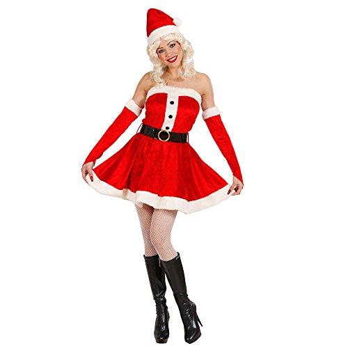 Widmann 1495X Erwachsenenkostüm Miss Santa aus Samt und Plüsch, Kleid, Gürtel, Handschuhe und ()