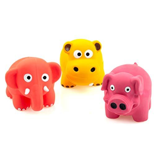 Chiwava 3 Stück 3.1 Zoll Squeak Latex Puppy Toy Schöne Stehende Tiere Setzt Pet Interactive Play für Kleine Hunde Farbe Sortiert