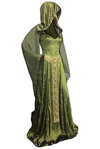 (Tianxinshop Damen Hexe Kostüm mit Kapuze Langer Abendkleid Grün, Cosplay Fasching Karneval Party Halloween)