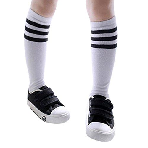 Jungen (2-4 Jahre) Sportsocken Transer® Knie-Lange Baumwolle Draussen Fußball Basketball Baseball-Socken Strümpfe Größe: 43cm (Weiß) (Leder-kinder-basketball)