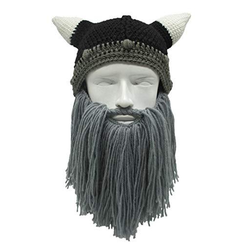 Warme Mütze Barbarische Viking Mütze Bart Horn Hut Männer & Frauen Winter Handgefertigte Knit Geburtstag Coolparty Halloween KC061 Gray