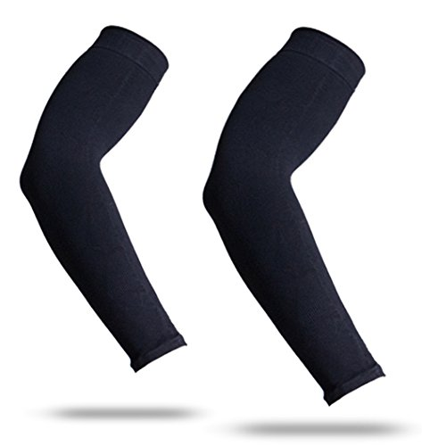 YISEVEN Sports Compression Arm Sleeves  1 Pair  3 4 Long Slim Sleeve for Baseball Shooter Bat Basketball Shooting Runner Football Golf UV Sun Protect Accessories Cover Tattoos Kids Boys - Youth Black