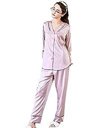 WWAVE Verano de casa de la Seda de imitación Desgaste Las señoras Pijama Manga Larga Conjunto