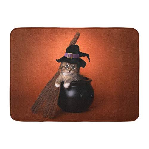 Kostüm Hexe Küchen - Fußmatten Bad Teppiche Outdoor/Indoor Fußmatte Tan Katze Lustige Halloween Hexe Kätzchen Kostüm Kessel Entzückende Tier Badezimmer Dekor Teppich Badematte