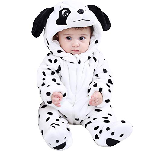 LPATTERN Mono de Franela Invierno para Bebés Unisex Mameluco con Capucha Disfraz de Animales Frutas, Blanco Perro, 18-24 Meses