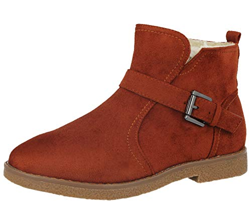 Ladies Cushion Walk Lotti Faux Suede Buckle Detail Warm Faux Fur Sheepskin Lined Flat Chelsea Ankle Boots Size 3-8