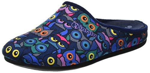Inblu Virgola, Zapatillas de Estar por casa con talón Abierto para Mujer, Azul (BLU 004), 39 EU