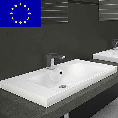 Einbauwaschbecken 81x46x14cm eckig, 81cm Einbau-Waschtisch Einbau-Waschbecken zum einlassen in eine Platte | Material: hochwertiges Mineralguss | Qualität MADE IN EU
