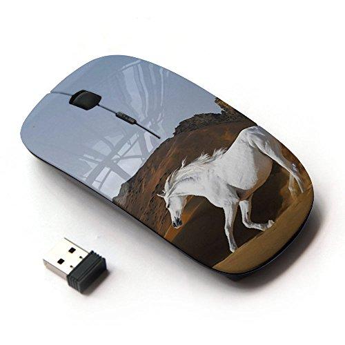 FJCases Weiß Pferd Hengst Tier 2.4 GHz Ergonomische drahtlose Maus (mit Nano Empfänger) (Maus Weiße Vaio)