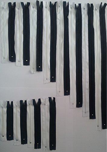 Fermetures éclair assorties, non séparable (24 Pièce), respectivement 1 Fermeture éclair noir et blanc en 12 longueurs