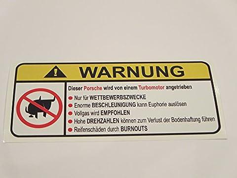 Porsche Turbo Motor German Lustig No Bull Warnung Aufkleber Decal Sticker