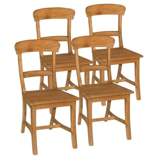 casamia Esszimmer Stühle Set Tanja 4 Stück mit Holzsitzfläche Teakholz gebürstet unbehandelt Kissen ohne Sitzkissen