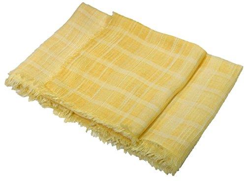 Bees Knees Fashion - Sciarpa - Limone Lino E Mix Di Cotone Strutturato Molto Grande Sciarpa