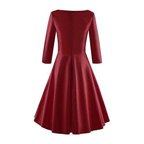 iLover Vintage 1950's Audrey Hepburn Manches 3/4 pin-up robe de soirée cocktail années 50 à pois WineRed