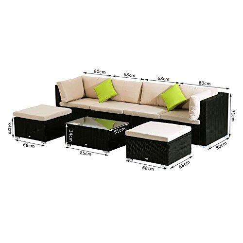 ᐅᐅ】 Outsunny® Poly-Rattan Loungeset 21tlg. Rattan Garten-Set ...