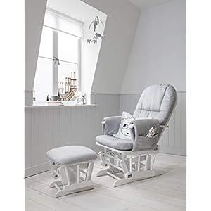 Tutti Bambini Deluxe Stillstuhl, gepolstert, mit 3 Liegepositionen, weißer Holzrahmen mit grauem weichem Stoff