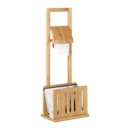 Relaxdays Toilettenpapierhalter mit Zeitungsständer, Bambus, Stand WC Garnitur, Zeitungsablage, HBT 81,5 x 30,5 x 21 cm, natur
