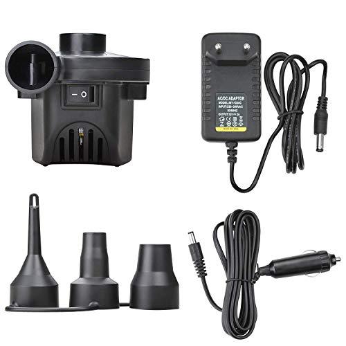 DOSMUNG Elektrische Luftpumpe, 2 in 1 Elektropumpe Power Pump mit 3 Luftdüse, Multifunktion Luftpumpe für aufblasbare Matratze, Kissen, Bett, Boot, Schwimmring, DC12V/AC220V, Inflate & Deflate