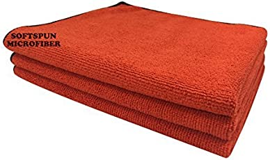 Softspun Microfiber Car Cleaning, Detailing & Polishing Cloth 340 GSM, 40x40cm, Red, Pack of 3
