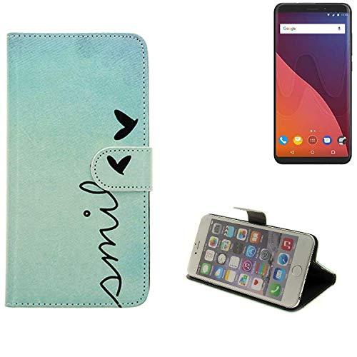K-S-Trade® Für Wiko View 32 GB Hülle Wallet Case Schutzhülle Flip Cover Tasche Bookstyle Etui Handyhülle ''Smile'' Türkis Standfunktion Kameraschutz (1Stk)