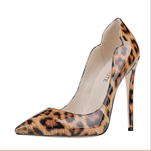 MERUMOTE , Chaussures à talon fin femme - Leopard-patent