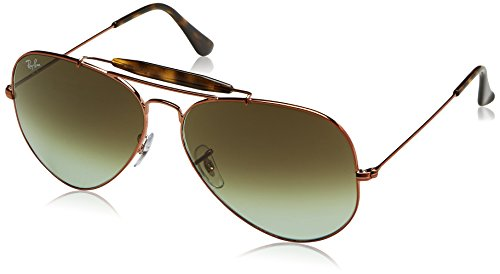 RAYBAN JUNIOR Herren Sonnenbrille Outdoorsman II, Shiny Medium Bronze/Green Gradient Brown, 62