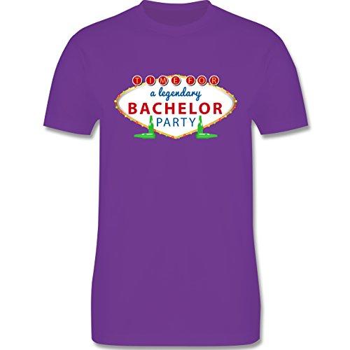 JGA Junggesellenabschied - Bachelor Party Schild - Herren Premium T-Shirt Lila