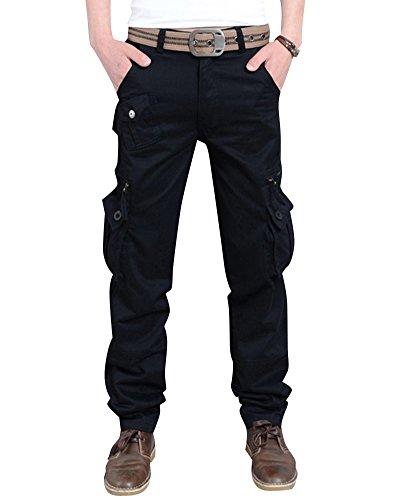 Anyu Pantalone Uomo Cargo Militare Molla Casual Pantaloni da Lavoro con Tasconi Laterali Nero 38