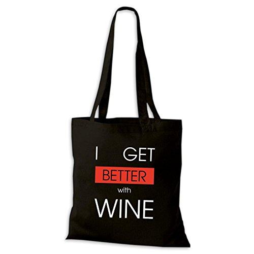 Shirtastic Baumwolltasche Jutebeutel I Get Better With Wine Wein Spaß Lustig Fun Stoffbeutel Schwarz
