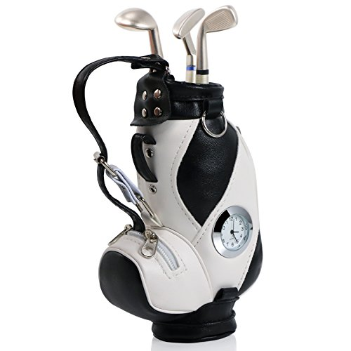 TRIXES Sacca da golf gadget porta penne con penne a forma di mazza da golf e orologio