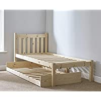 Strictly Beds and Bunks Limited SHORT GUEST BED - Single 85cm by 175cm Wooden guest bed Frame - INCLUDES TWO 15cm thick sprung mattress