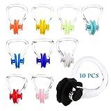 XCOZU Nasenklammer Schwimmen, 10 Stücke Silikagel Nasenklemme für Kinder Erwachsene, Nasenclip Protector zum Schwimmen