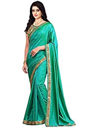 Raploch Women's Green Paper Silk Saree With Blouse Piece