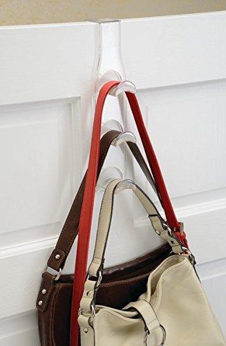 mDesign Türgarderobe – 2er-Pack Metallgarderobe zum Hängen über die Tür – je drei Haken für Mäntel, Jacken, Hüte, Handtücher in Flur und Bad – vertikale Flurgarderobe – transparent