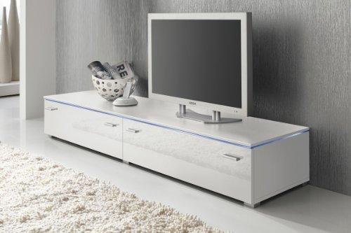 Lowboard TV Schrank TV-Element 180 cm weiß Fronten Hochglanz, optional LED-Beleuchtung, Beleuchtung:ohne Beleuchtung