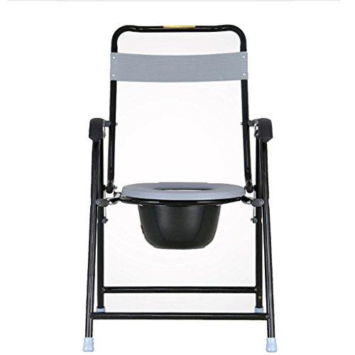 LI JING SHOP - Accoudoir noir de tuyau d'acier de chaise de Commode avec la taille de chaise de toilette de dossier: 50X50X95cm