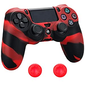 Pandaren® Silikon hülle skin Schutzhülle für PS4 controller (rot schwarz) x 1 + thumb grip aufsätze x 2