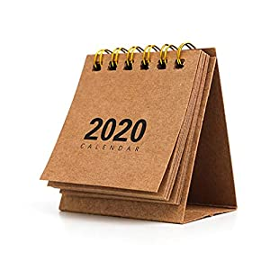 RROVE Table Calendar 2020 Año Nuevo Mini, Creativo Simple Bobina de Escritorio Bloc de Notas Calendario Kraft 3