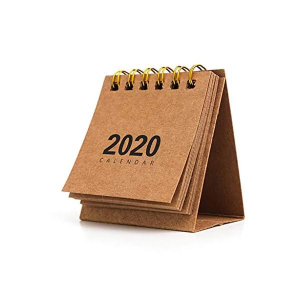 RROVE Table Calendar 2020 Año Nuevo Mini, Creativo Simple Bobina de Escritorio Bloc de Notas Calendario Kraft 1